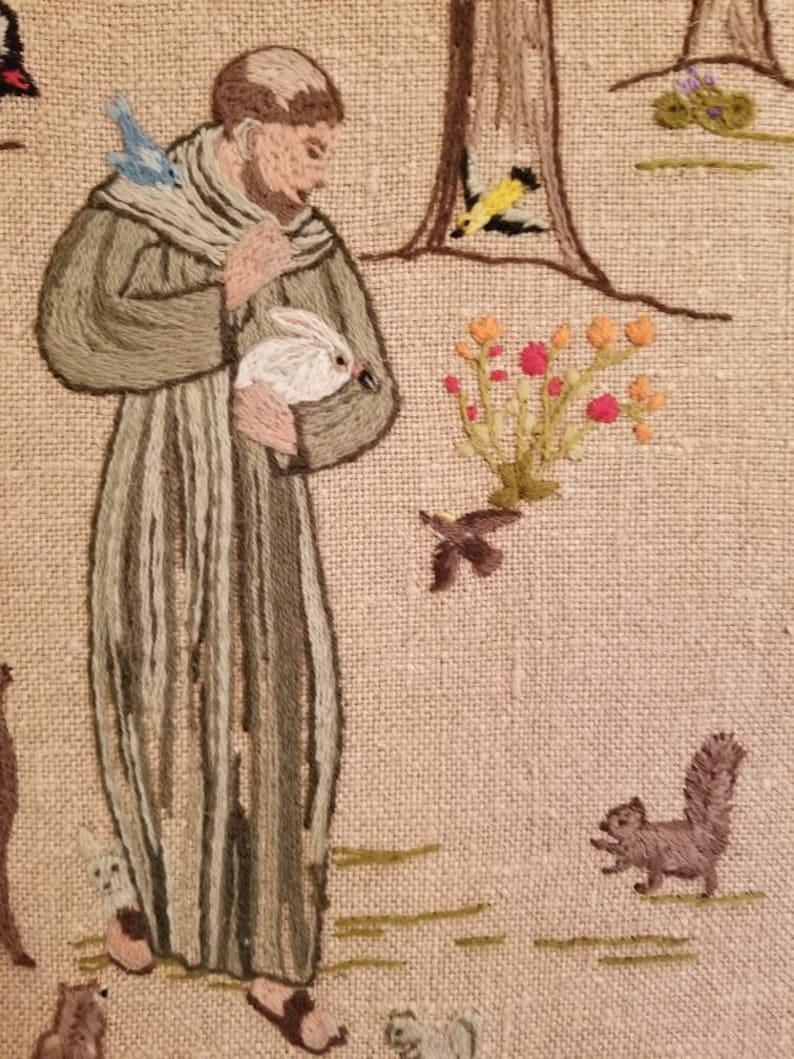 Large Needlepoint Crewel Work Framed Saint Francis of Assisi found by Foo Foo La La