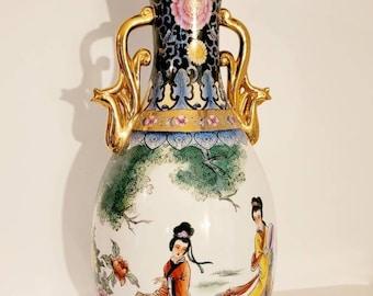 Vintage Ceramic Asian Floor Vase, Floral Lady Story Porcelain Vase, Huge Vase, Made in China Flower vase found by Foo Foo La La