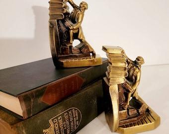 Brass Bookends Vintage Brass, Books Bookends Found by Foo Foo La La