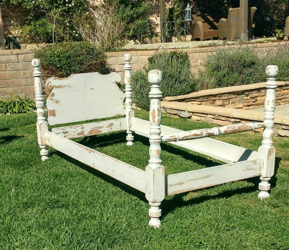 Vintage Twin Bed Headboard Foot Board And Siderails By Foo Etsy