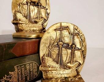 Boat Bookends Vintage Brass, Sailing Bookends Found by Foo Foo La La