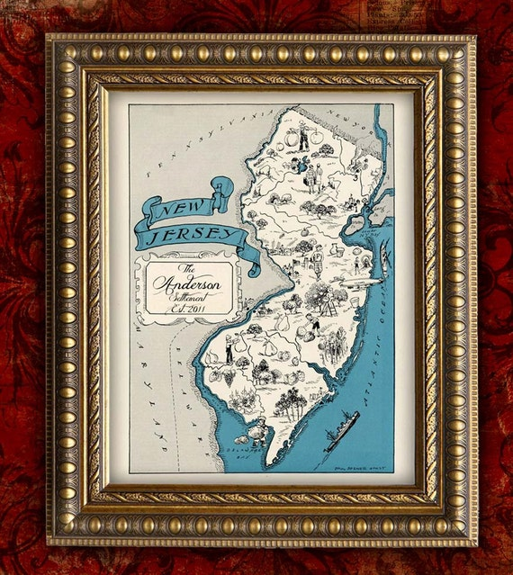 Items Similar To Personalized NEW JERSEY Map Print Vintage