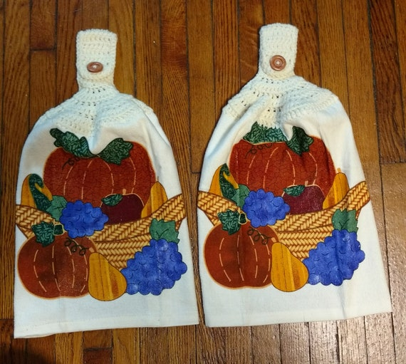 Crocheted Get Your Gobble On Kitchen Towel with Brown Yarn