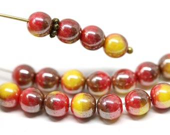 60pcs Red /& Yellow Multicolour AB Czech Glass Oval Faceted Beads 3x2mm GB471
