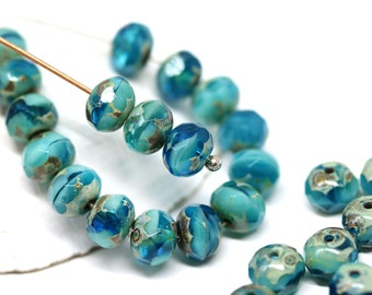 Czech Glass Faceted Rondelle Spacer Beads \u2013 Pastel Sky Blue  Opaque Picasso 35mm x 30pcs