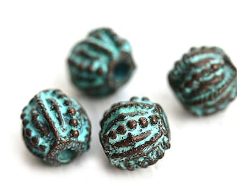 10mm Dotty round copper beads Green patina Greek metal casting beads Lead Free mykonos jewelry making supply - 4Pc - F193