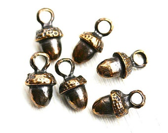 Acorn metal charm Antique Brass acorn beads greek metal casting small acorn charms Lead Free 6pc - F278