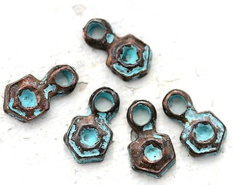 Hexagon charms Verdigris Green patina jewelry charms Greek metal casting beads geometry charm 11x6mm - 6Pc - 0729