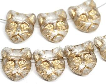 Golden Cat beads Crystal Clear czech glass beads Side drilled Gold cat head Feline Kitty 8pc - 0942