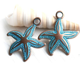 Copper Starfish charm Metal Seastar jewelry charms Blue patina starfish bead Greek Metal casting Starfish pendant - 23mm - 2Pc - F474