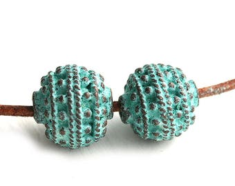12mm Round Patina beads Green Verdigris patina Copper metal ball greek beads, Lead Free - 2Pc - F227
