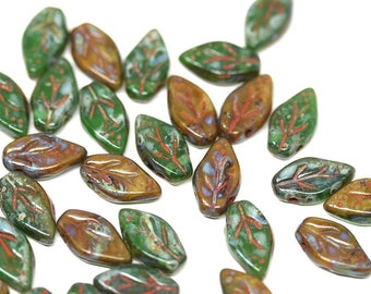 Green Brown leaf beads Picasso Czech glass pressed leaves Brown Green mixed color 10x6mm top drilled glass beads 40Pc - 2756