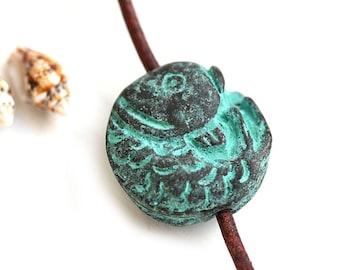 Fish round bead Green patina fish charm Verdigris patina Copper Fish pendant bead Greek metal casting - F557