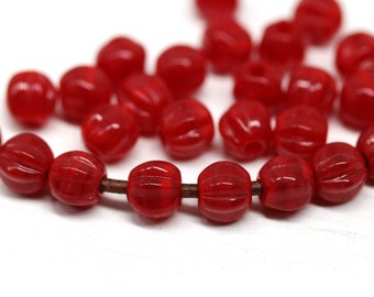 1.5mm hole black and white 6mm czech glass round melon shape beads for leather cord 30pc 3115