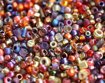 Red and Gold Seed beads MIX, Toho glass beads, Red Orange Topaz beads mix, japanese rocailles - 10g - S1092