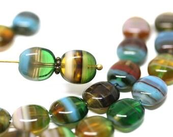 "13x18mm Yellow GoldenStone Swirl Flat Oval Beads 15.5/"""