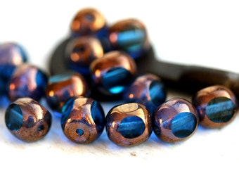 8mm Blue Czech glass beads, Sapphire blue with luster round cut ball beads - 15Pc - 1473