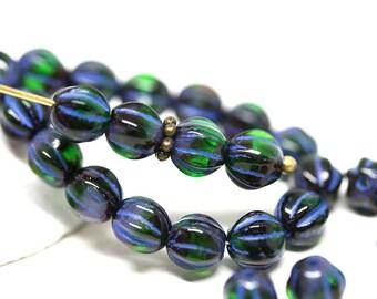 Dark Blue Green beads 6mm Melon czech glass round beads Dark green carved beads Blue inlays - 30Pc - 1484