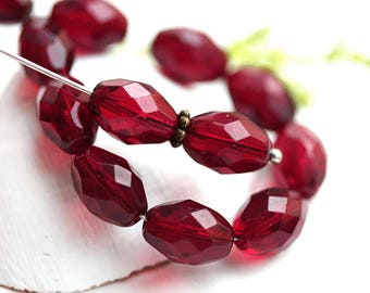 11x8mm Ruby Red oval beads, dark red czech glass fire polished barrel beads - 20Pc - 1521