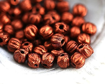 3mm Melon beads, Dark Copper color small spacers, czech glass, tiny round beads - 50pc - 2699