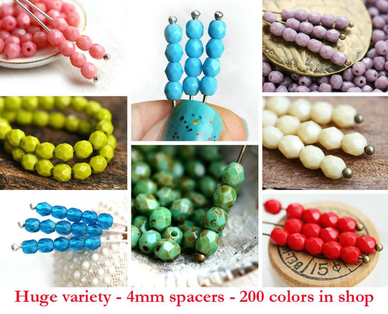 blue round beads faceted fire polished spacers 50Pc 1836 4mm Capri Blue czech beads