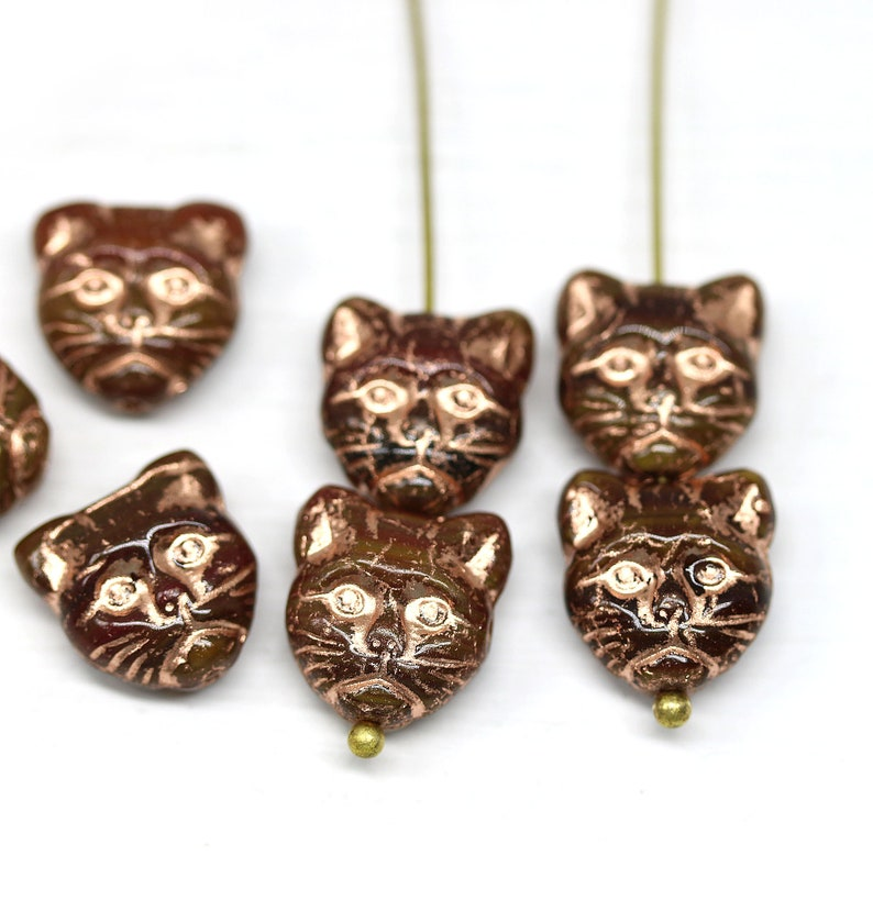 Copper wash czech glass feline kitty beads 10pc Brown cat head beads 3215