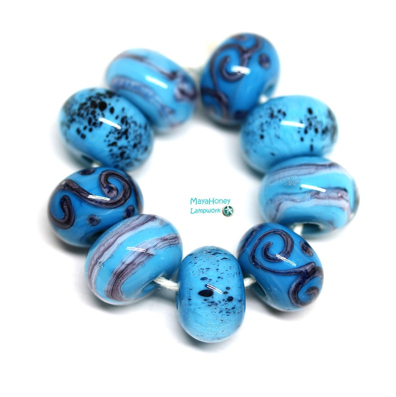 9pc Turquoise blue beads set Handmade lampwork glass round beads by MayaHoney SRA