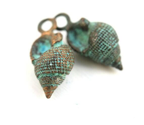 5PCS Verdigris Patina Hollow Snail Seashell Shell Charm Pendant DIY Findings