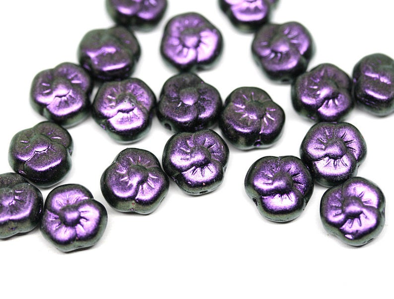 20Pc 1965 Metallic Purple flower bead Violet Purple glass bead 9mm czech glass flower three petal daisy floral bead