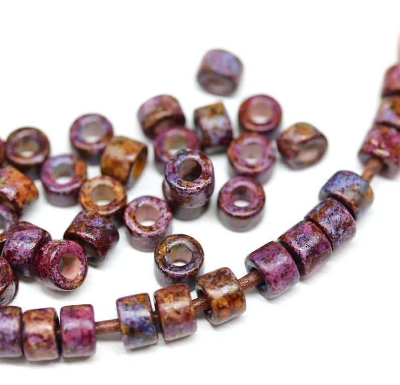 40pc 2mm hole 6x4mm Dark purple Ceramic tube rondelle beads 2842 Brown purple Greek washer beads for leather cord