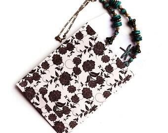 "20 Paper Bags, Flat gift bags - 4x5,25"" - Floral Print, Beige, Black, Flower Ornament, Craft Bag, party favors, kraft bags, PP04"