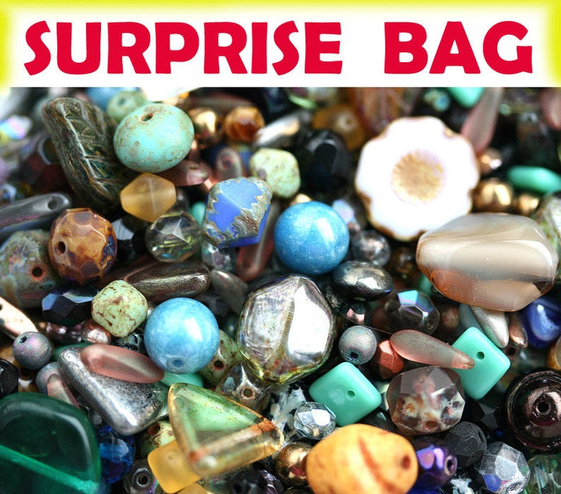 Picasso Beads MIX Surprise Bag 20gr Czech glass bead soup image 0