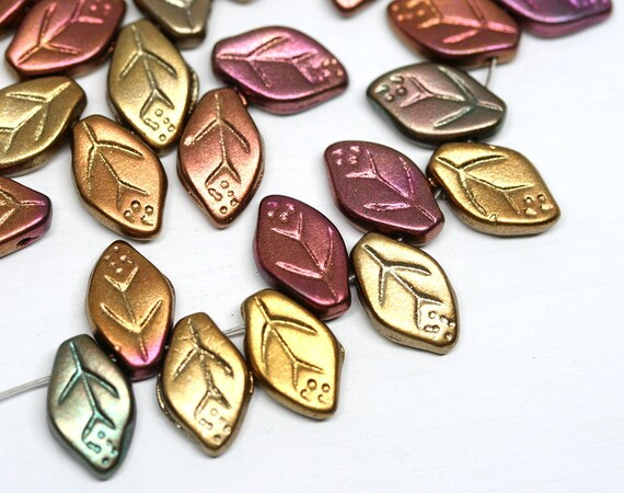 Czech Leaf Beads 9 x 14MM Multi Color Matte Metallic Pressed Glass 20 Beads PRE914LEAF002