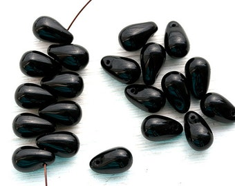 6x10mm Black teardrops, Czech Glass black drop pressed beads, black glass beads - 20pc - 2077