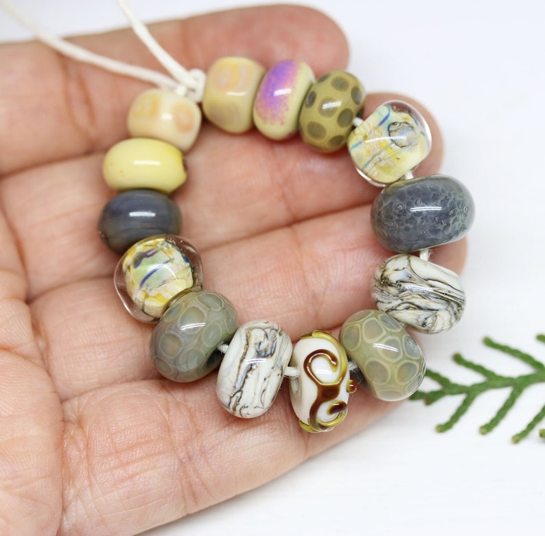 Beige Grey green Handmade lampwork glass round beads mix 14pc Neutral beads set Murano glass One of a kind beads by MayaHoney SRA