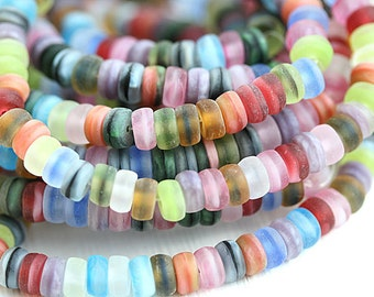 Rondelle beads mix, Matte beads, Seaglass look, czech glass bead spacers, rondel beads - 6mm - 25pc - 0114