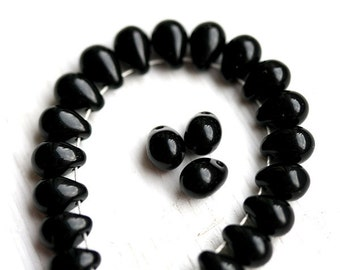 Jet Black drop beads Black glass teardrops pressed czech glass beads - 5x7mm - 30pc - 2554