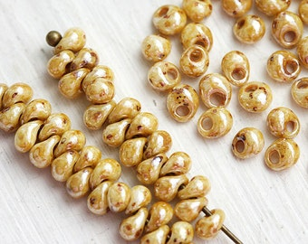 TOHO Magatama Seed beads, size 3/0, Opal Luster Picasso, Y181, hybrid beige drop glass beads - 6g - S105