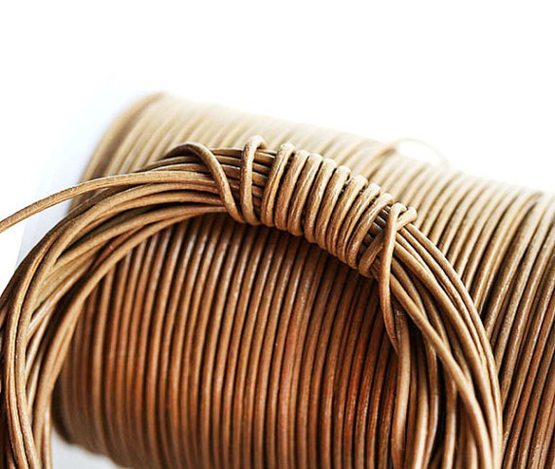 Light Brown 1mm Round Natural Leather cord Camel LC081 10 feet