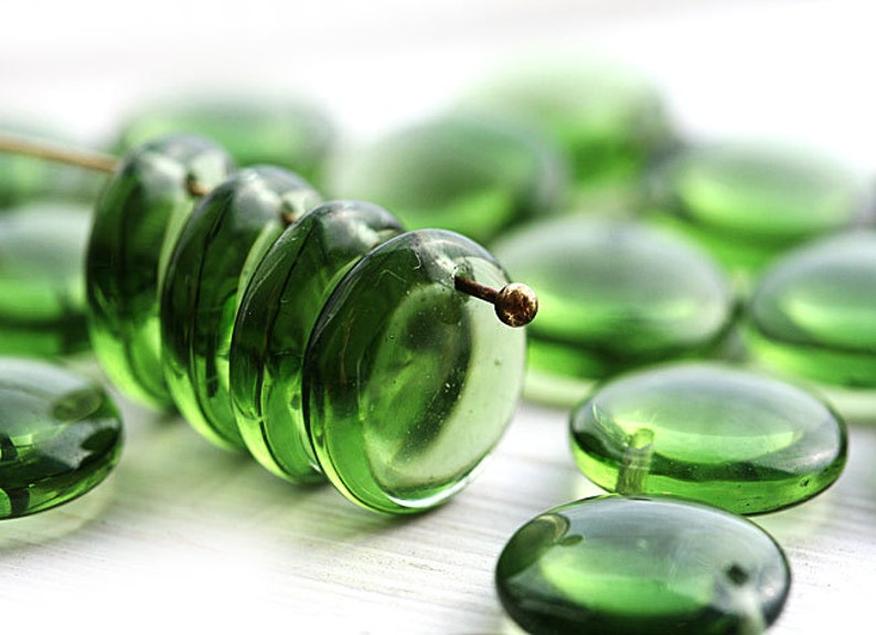 12mm Lentils lentil shape 2357 top drilled rondelles 20Pc Olive green czech glass beads glass beads Olivine beads