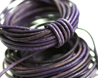 1mm Round Natural Leather cord - Vintage Violet Purple - 10 feet, LC038