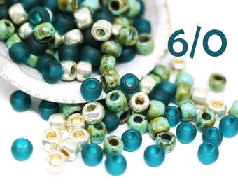 10g Toho seed beads mix Teal Ocean MayaHoney Special Mix 6/0 size Teal Silver seed beads hybrid japanese glass rocailles - S1021