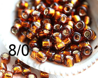 10g TOHO seed beads size 8/0 Silver Lined Smoky Topaz N 34 rocailles brown seed beads - S963