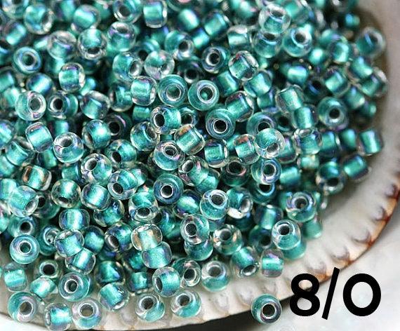 8//0 Seed Beads glass Crystal Line Rainbow Seed beads 28 Grams
