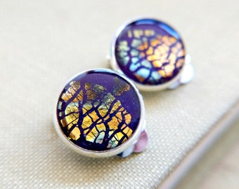 Handmade clip on earrings / Purple and metallic polymer clay and resin in silver plated bases / Unique and fun jewellery made in Scotland