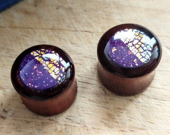 """14mm 9/16"""" double flare purple & mixed metal wooden plugs / Polymer clay and resin hand decorated gauges / Custom ear plugs made in Scotland"""
