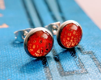 Polymer clay and resin stud earrings in red and copper / Hypoallergenic stainless steel posts / Fun, funky and unique handmade jewellery