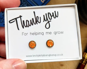Thank you for helping me grow / Handmade polymer clay and resin stud earrings in printed gift box / Thoughtful unique thank you gift