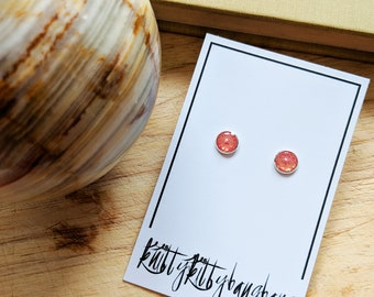 Blush pink earrings studs with gold flecks in silver plated setting, millenial pink stud earrings, pink bridesmaid jewellery, pink gold ears