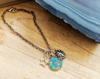 Turquoise silver charm bracelet, ladybird ladybug silver charm bracelet, teal bracelet star charm, insect charm bracelet, blue gold bracelet